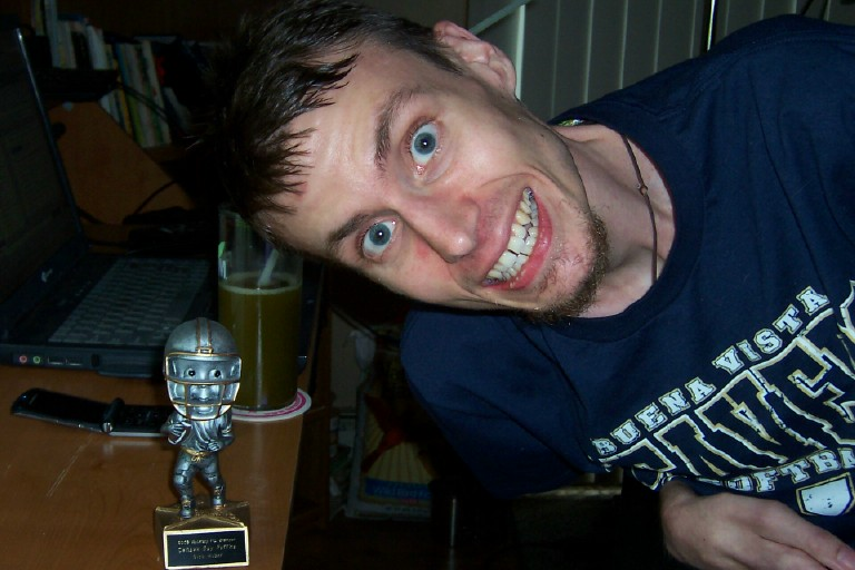 Nick with his Fantasy Football Trophy